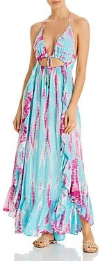 Surf.Gypsy Tie-Dyed Cutout Halter Maxi Dress Swim Cover-Up