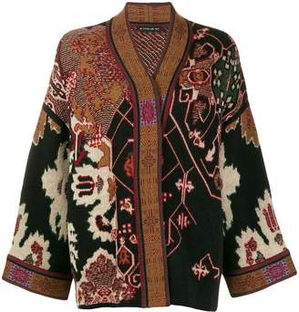 Etro embroidered draped cardigan