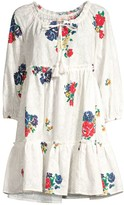 Tory Burch Floral Embroidered Ruffle Tassel Coverup