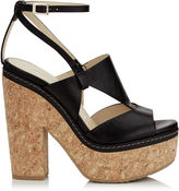 Jimmy Choo NOBLE 120 Black Vacchetta Leather Cork Wedge