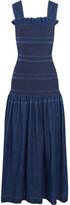 Stella McCartney Ruffled Smocked Denim Maxi Dress - Dark denim