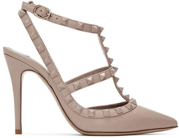 Valentino Pink Garavani Suede Cage Heels
