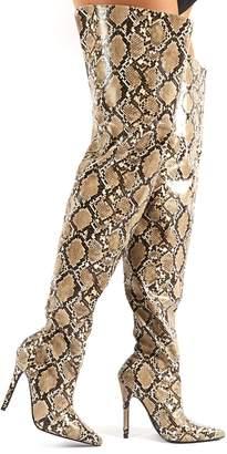 Public Desire Rita Snakeskin Stiletto Heeled Over the Knee Boots