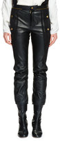 Chloé Cropped Leather & Suede Biker Pants, Black