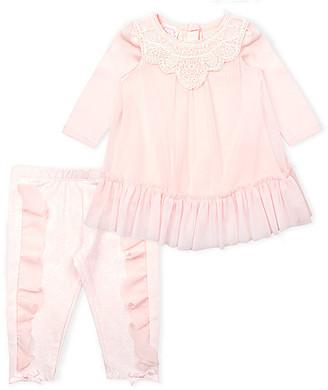 Biscotti Girls' Leggings PEACH - Peach Lace Mesh Peplum Top & Ruffle Bow Leggings - Newborn & Infant