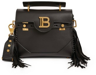 Balmain Leather B-Buzz 23 Fringed Shoulder Bag