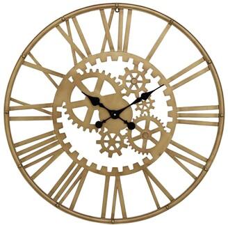 CosmoLiving by Cosmopolitan Metal Gold Gear Wall Clock