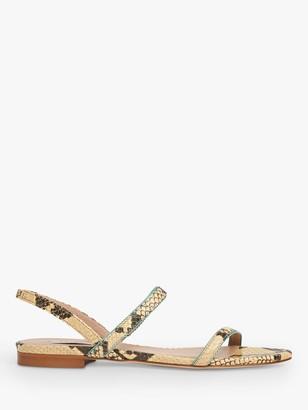 LK Bennett Rosalie Snake Skin Leather Flat Sandals, Yellow