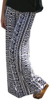 QIYUN.Z New Printed Wide Leg Long Pants Women's Straight Trouser Jambes Larges Pantalons