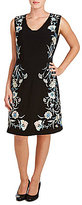Peter Nygard Embroidered V-Neck Sleeveless Crepe Sheath Dress