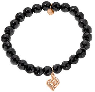 Jane Basch 14K Rose Gold Diamond & Onyx Initial Stretch Bracelet (A-Z)