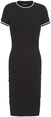 James Perse Ruched Ribbed Cotton-jersey Dress