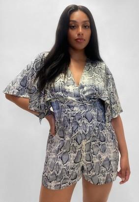 Missguided Plus Size Grey Snake Print Kimono Sleeve Romper