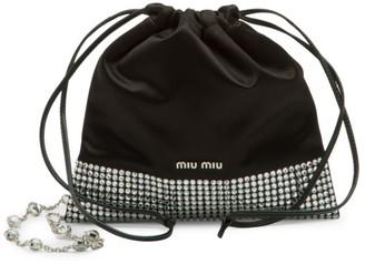 Miu Miu Starlight Embellished Velvet Drawstring Pouch