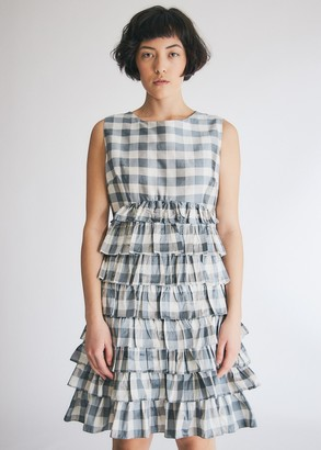 Batsheva Ruffle Skirt Dress in Grey/White