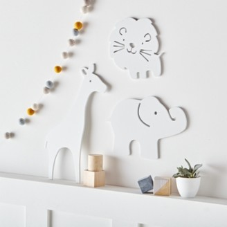The White Company Noah's Ark Wall Animals, White, One Size