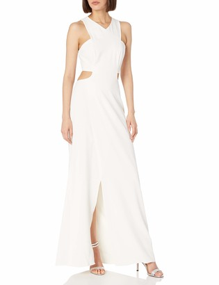 Halston Women's Sleeveless V Neck Crepe Gown with Side Cut Outs