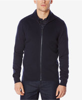 Perry Ellis Men's Ribbed Zip-Front Sweater
