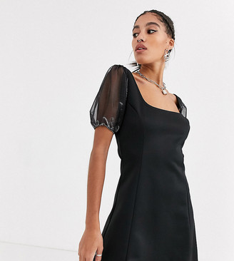 Another Reason square neck mini dress with organza puff sleeves