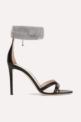 Giuseppe Zanotti 105 Crystal-embellished Leather Sandals - Black