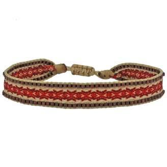 LeJu London Handwoven Single Wrap Bracelet With Glass Beads Details