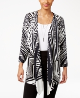 JM Collection Petite Printed Draped Cardigan, Created for Macy's