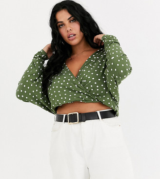 Asos DESIGN Curve wrap top with batwing sleeve in spot print
