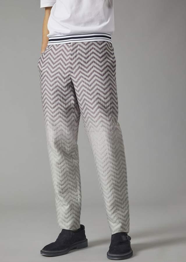 Giorgio Armani Linen And Cotton Jacquard Trousers With Chevron Motif