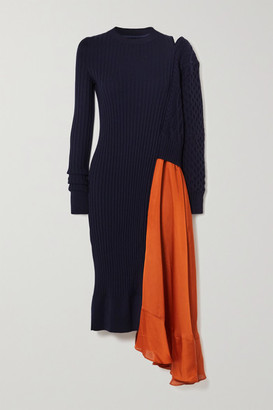 Sacai Asymmetric Paneled Ribbed And Cable-knit Wool And Satin Dress - Navy