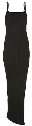 Balmain Ribbed Side-Button Maxi Dress