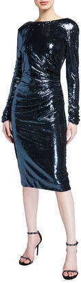 Dress the Population Emilia Sequin Long-Sleeve Ruched Dress