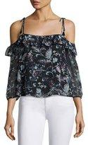 Ella Moss Dreamer Floral Cold-Shoulder Top, Black