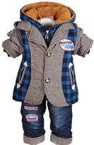 YAO Winter Infant Baby Boys Clothing Sets Thicken Velvet Jacke Coat and Jeans