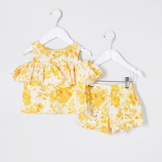 River Island Mini girls yellow floral print short set