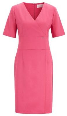 HUGO BOSS Wrap Style Dress In Stretch Wool Flannel - Pink