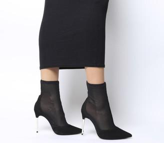 Office Alight Metal Heel Sock Boots Black Mesh