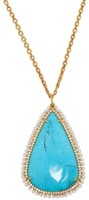 Irene Neuwirth Diamond, Turquoise & Pearl Pendant Necklace - Blue