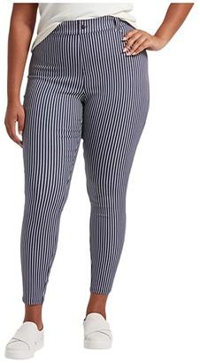 Hue Plus Size Striped Ultra Soft Denim High-Waist Leggings (Indigo Stripe) Women's Jeans