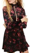 Topshop Ring Lace Up Floral Velvet Skater Dress