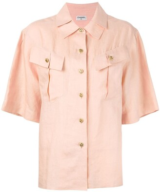 Chanel Pre Owned Pleated Collar Shirt