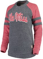 Unbranded Women's Pressbox Navy Ole Miss Rebels Dawn Twisted Terry Raglan Sleeve Stripe Crew Sweatshirt