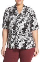 Sejour Plus Size Women's Pleat Shoulder Stretch Knit Tee