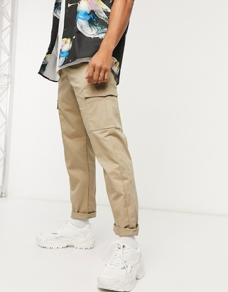 Jack and Jones Intelligence loose fit cargo trousers in sand
