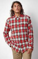 RVCA Bone Plaid Flannel Long Sleeve Button Shirt