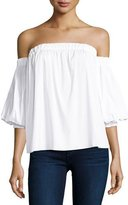 Milly Off-the-Shoulder Stretch-Cotton Blouse, White