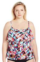 Maxine Of Hollywood Women's Plus Size Bermuda Triple-Tier Tankini with Adjustable Straps