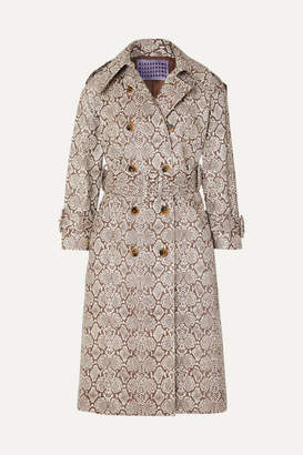 ALEXACHUNG Snake-effect Faux Leather Trench Coat - Snake print