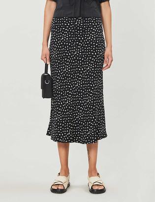 Rails London high-waist polka dot crepe midi skirt