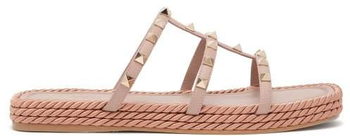 Valentino Torchon Rockstud Multi Strap Leather Slides - Womens - Nude