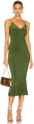 Norma Kamali for FWRD Slip Fishtail Midi Dress in Oliva | FWRD